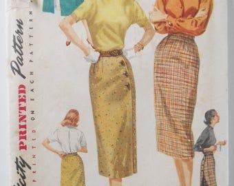 Vintage Sewing Pattern • 1950s Simplicity Ladies Skirt • Whiz Wrap Skirt • Slim Pencil Skirt