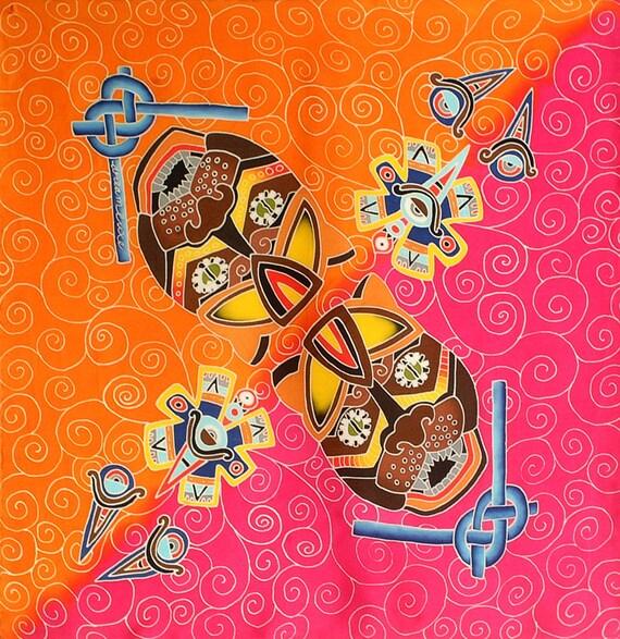 Silk scarf handpainted, Silk mens scarf, Jaguar scarf, Tribal scarf, Hand made scarf, Aztec scarf, Square silk scarf, Batik, Luxury scarf