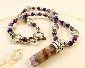 Amethyst  Crystal Cylinder Pendant Necklace