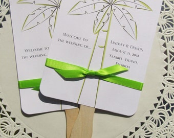 Wedding Hand Fans - Wedding Paddle Fans - Palm Tree Fans - Wedding Fans - Beach Wedding Fans - Personalized Hand Fans