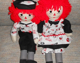 20 Inch Georgia Bulldogs Raggedy Ann and Andy Doll Sets