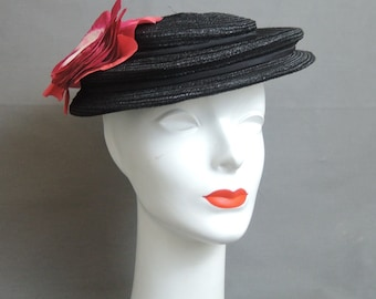 Vintage Hat 1950s Black Hat with Large Pink Flower, fits 21 to 22 inch head