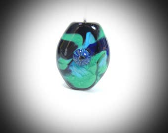 Multicolored Focal Bead Greens and blue handmade lampwork SRA By Diane