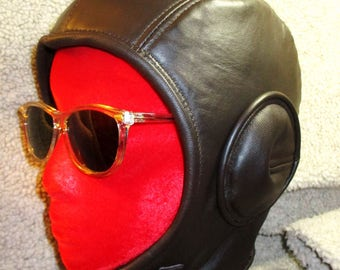 Retro Aviator Hat in Dark Brown Lamb Leather