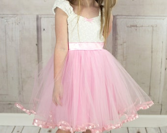 Pink flower girl dress  flower girl dress, vintage flower girl dress, Victorian dress, tutu dress, flower girl dress tutu, pink white, SALE