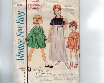 1960s Vintage Sewing Pattern Advance 3397 Girls High Waisted Dress Size 2 Breast 21 60s