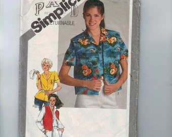 1980s Vintage Sewing Pattern Simplicity 9864 Misses Shirt and Lined Quilted Vest Size 12 Bust 34 80s 1980 80s