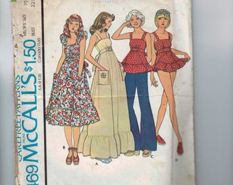 1970s Vintage Sewing Pattern McCalls 4469 Misses Sundress or Ruffled Top and Panties Size 10 Bust 32 1/2 1975 70s