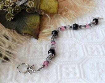 Sale......One of a Kind Sterling Swarovski Crystal Czech Glass Beaded Toggle Bracelet