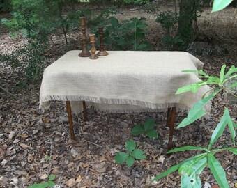 Fringed Burlap Tablecloth Custom Fringed Tablecloth Table Topper Handmade Wedding Table Setting