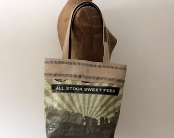 Upcycled Feed Bag Tote with Natural Jute Webbing Trim, OOAK, Made in Maine