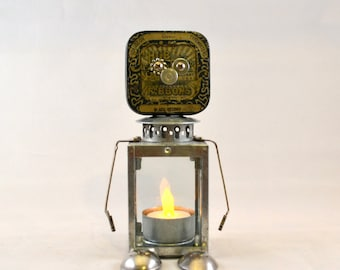 EMMETT the LIGHT BRINGER, Assemblage Art Recycled Robot Sculpture