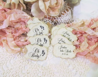 Oh Baby Favor Tags Shower Parchment Party Picks - Set of 18 - Choose Ribbons - gender reveal sprinkle its a girl boy baby footprints