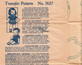 Vintage Sewing Pattern Mail Order 7627 Girl and Boy Doll & Clothes Transfer FF Never Used