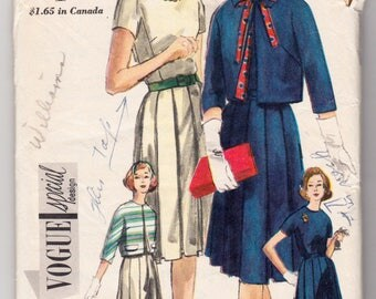 "ORIGINAL Vintage Sewing Pattern 1960's Ladies Dress & Jacket Vogue 4198 Size 32"" Bust - Free Pattern Grading E-book Included"
