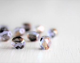 25 Sapphire Celsian 6mm Faceted Czech Glass Beads, Fire Polished Beads, Faceted 6mm Beads, 6mm Beads