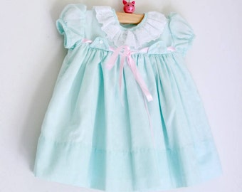 reserved.....Vintage baby girls dress mint green and pink 3 months