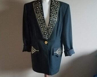 Black and Gold Studded 80s Blazer