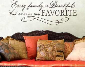 Family Wall Decal - Every Family is Beautiful but ours is my Favorite - Photo Gallery Decal - Family Wall Quote Saying