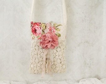 Shabby Roses and Lace Tattered Rose Ditty Bag