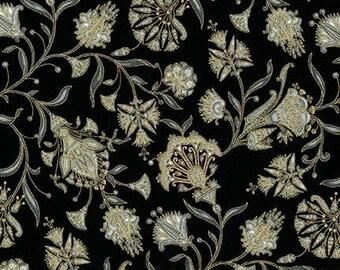 Valley of the Kings Flowers Black Metallic Kaufman Fabric 1 yard