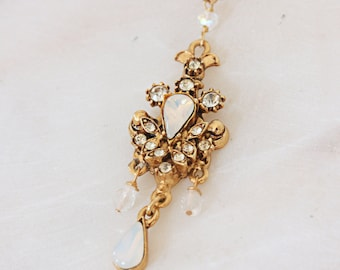 Vintage Gold Opal Rhinestone and Crystal Necklace