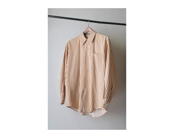 1990's Rust Tan Striped Long Sleeves Shirt