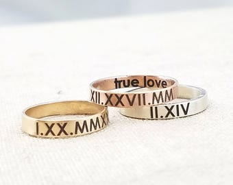 Personalized Ring - Roman Numeral Rings - Jewelry - Personalized Gift - Rose Gold Ring - Mixed Metal Stacking Ring - Personalized Gift