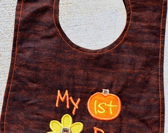 Thanksgiving Baby Bib- made in 2 sizes with name monogram available