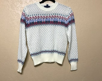 vintage country knit sweater. purple heart sweater. knitwear. cottage chic sweater