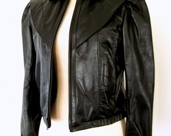 80s LEATHER RACER Jacket / 1980s Black Leather Jacket / Feminine Puff Sleeve MOTO Jacket