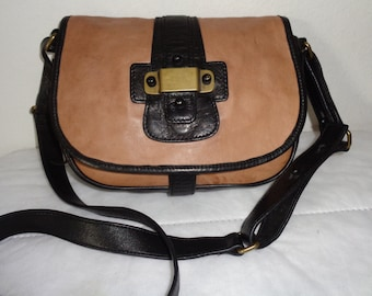 Barneys New York messenger , cross body SMALL bag  brown genuine leather  satchel bag purse vintage early 90s pristine  condition