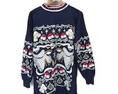 Vintage Christmas Sweatshirt, Epic 80s Christmas Sweater Navy Blue Christmas Sweatshirt Angels Bells Holly Long Comfy Ugly Christmas Sweater