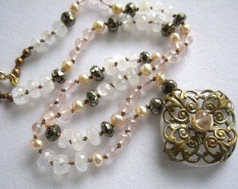 Silk Gemstone Necklace Romantic Bohemian Necklace Patina Brass Pendant Boho Chic