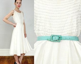 SALE- White Lace Dress . 1960s Summer Dress