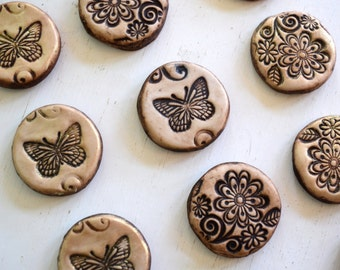 Miniature butterfly stepping stones for Fairy garden cast marble stone: set of 5