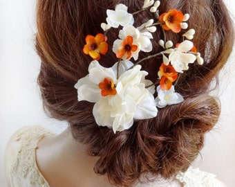 bridal flower hair clip, bridal hair piece, orange hair clip, fall hair clip, ivory flower, bridal hair accessories, floral hair comb