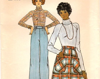 1970s Butterick 4441 Vintage Sewing Pattern Misses A-line Skirt, Long Pants, Turtleneck Top Size 8 Bust 31-1/2