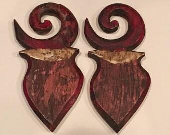Old Dayak Hand Painted Wood Gasing Earrings Ear Plugs