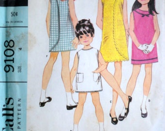 Vintage 60's McCall's 9108 Sewing Pattern, Girls' Wrap-A-Rounder Dress In Six Versions, Size 4, Uncut FF