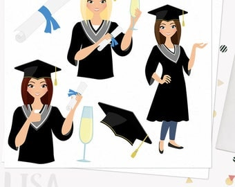 Graduate girl character clipart, woman grad, college education, diploma celebration, digital png, blonde, brunette, auburn hair (Lisa L267)