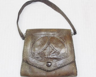 Antique Edwardian 1910s Tooled Leather Purse Art Nouveau
