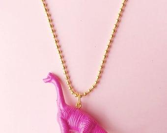 Dinosaur Necklace. Kids Jewelry. Girls Jewelry. Dino Necklace. Girls Necklace. Girl gift. Kid Gift. Kid Necklace. Pink Dino. Apatosaurus.