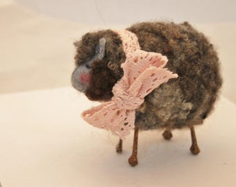 Sheep, Little Gray   Sheep Prim Needle Felted Sheep, Year of the Sheep #2425