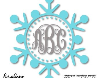 Winter Snowflake Monogram Frame (monogram NOT included) Christmas Holiday SVG, EPS, dxf, png, jpg digital cut file for Silhouette or Cricut