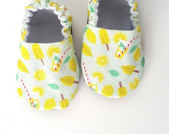 Baby Shoes, Baby Moccasins, Childrens Indoor Shoes, Lemonade