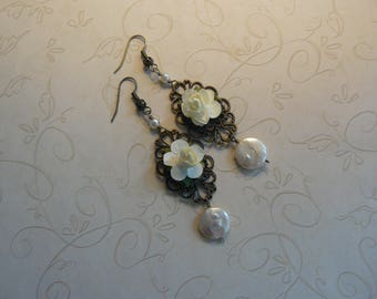 Chandelier Earrings, Handmade Earrings, Unique Handmade, One of a Kind, Flower Earrings, A Gift for Her, Mother's Day Gifts, Gift Ideas