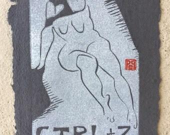 Control-Z on Handmade Paper Linocut artist print