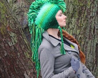 Green Ombre Tones  Mohawk Hat Extreme Long Faux Hair Gradient Color Trapper Earflap Hat