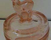"Vintage Pink ""Bambi"" Fawn Figural Glass Covered Powder Dish Trinket Jar"